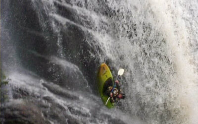 First descent of the Röa falls – Dennis has a bad hair day
